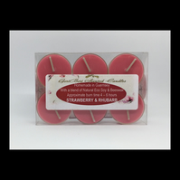 Strawberry & Rhubarb Scented Soy Tea Lights - Free UK Shipping