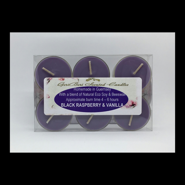 Black Raspberry & Vanilla Scented Soy Tea Lights - Free UK Shipping