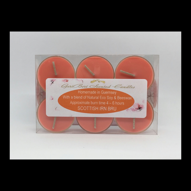 Scottish Irn Bru Scented Soy Tea Lights - Free UK Shipping