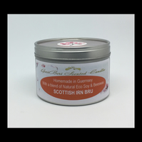 Large Scottish Irn Bru Scented Soy Candle Tin - Free UK Shipping
