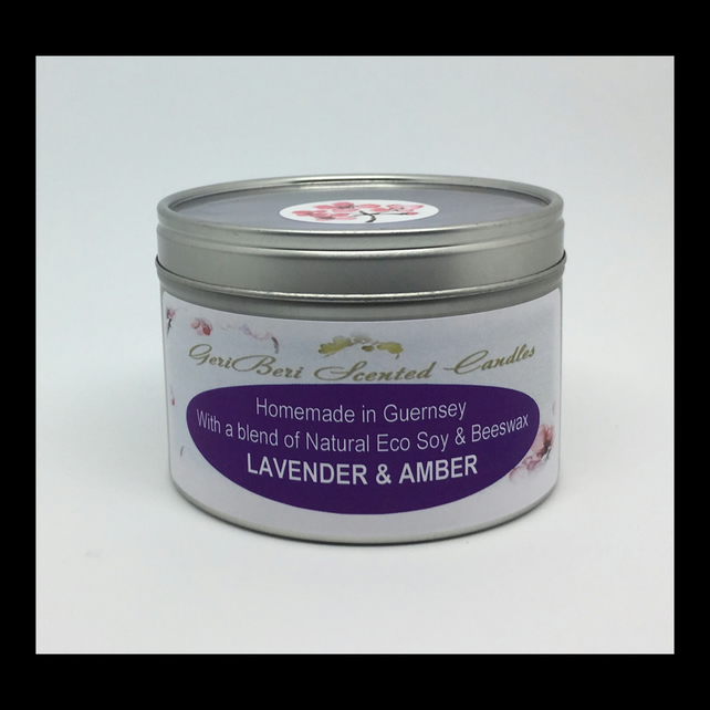 Large Lavender & Amber Scented Soy Candle Tin - Free UK Shipping