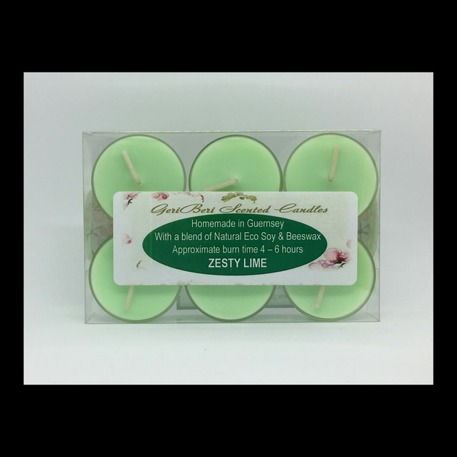 Zesty Lime Scented Soy Tea Lights - Free UK Shipping