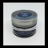 Medium Blueberry & Vanilla Scented Soy Candle Tin - Free UK Shipping