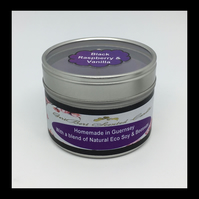 Medium Black Raspberry & Vanilla Scented Soy Candle Tin - Free UK Shipping