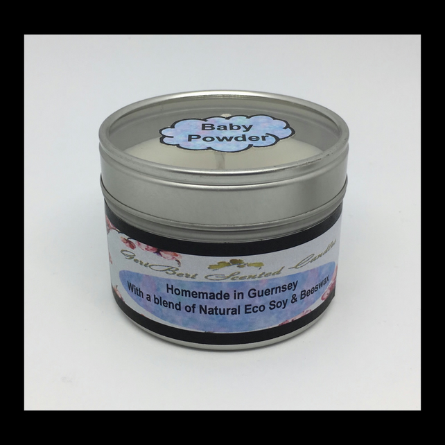 Medium Baby Powder Scented Soy Candle Tin - Free UK Shipping