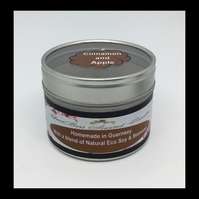 Medium Cinnamon & Apple Scented Soy Candle Tin - Free UK Shipping