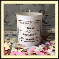 Personalised Matron of Honour Scented Soy Wedding Candle