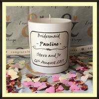 Personalised Bridesmaid Scented Soy Wedding Candle