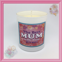 """Best Mum in the World Ever"" Scented Soy Candle Glasses - Free UK Shipping"