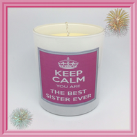 """Best SISTER Ever"" Scented Soy Candle Glasses - Free UK Shipping"