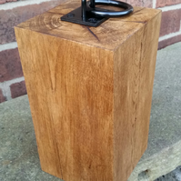 Solid oak door stop with iron ring
