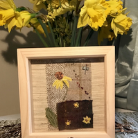 French Sunflower at Dawn, Silk Velvet on Tweed, Textile Art