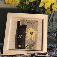 French Sunflower at Noon, Silk Velvet on Tweed, Textile Art