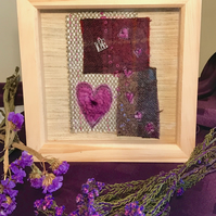 Tweed Heart Textile Art