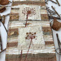 Seed Head Scrappy Mini Art Quilt Wall Hanging, Mixed Media Textile Art