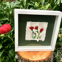 Red Tulips  Fragment to Flowers  Textile Art