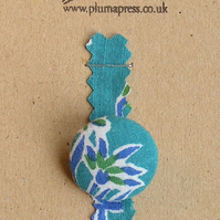 Button Brooch - Indian Fabric