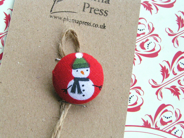 Christmas Button Fabric Brooch