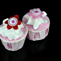 Strawberry Bath Creamer with Hand Piped Whipped Shea Butter and Glitter