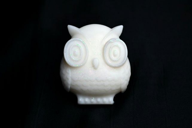 Coconut Owl Soap with Cosmetic Glitter, Coconut Soap