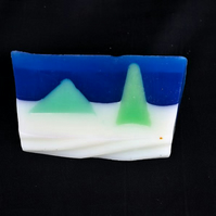 Christmas Spice Soap with Winter Forest Scene