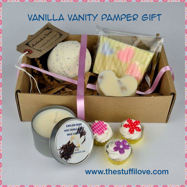 Vanilla Vanity Luxury Gift Set with Soap, Bath Bomb, Melts, Candle, Lotion Bar
