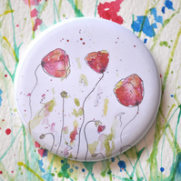 Watercolour Pocket Mirror, Small Round Poppy Mirror