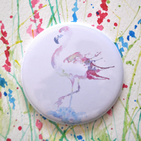 Watercolour Pocket Mirror, Small Round Flamingo Mirror