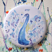 Watercolour Pocket Mirror, Small Round Peacock Mirror