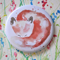 Watercolour Pocket Mirror, Small Round Fox Mirror