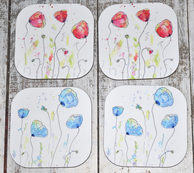 Watercolour Poppy Coaster Set, 4 Wooden Square Coasters