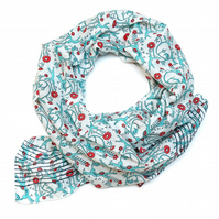 Hand Block Printed Bageecha Circus Inspired Retro Scarf, Cotton Silk Mix