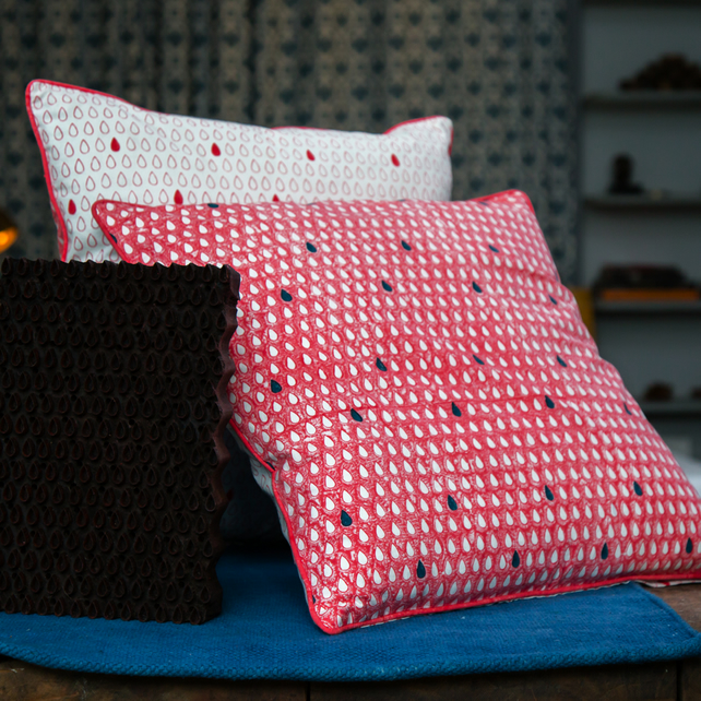 Monsoon Raindrop Block Printed Cushion Covers, Set of 2 in Coral Pink and Indigo
