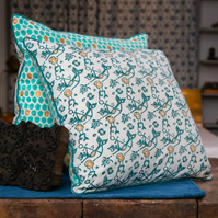 Mermaid Block Printed Cushion Covers with Fish Scale Print on Reverse,Set of Two