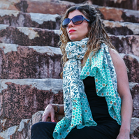 Mermaid Hand Block Printed Cotton Silk Mix Scarf - Hand Rolled Finish