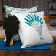 Heritage Kela Banana Leaf Block Printed Cushion Covers, Set of 2