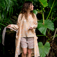 Desert safari kimono robe with sand dunes and oryx, hand block printed on cotton