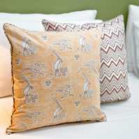 Set of 2 block Print cushion covers with desert safari print and chevron reverse