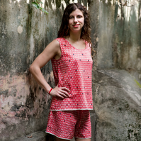 XS-S Monsoon raindrop pattern short pyjama set coral pink & indigo block printed
