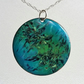 Enamelled copper 'marbled' pendant 038
