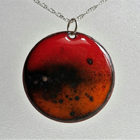 Enamelled copper 'lava' pendant 040