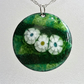 Enamelled copper 'daisies' pendant 042