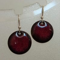 Round dark cherry pink enamelled copper earrings 051