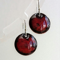 Round dark orange enamelled copper earrings 054