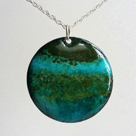 Enamelled copper 'land and sea' pendant 055