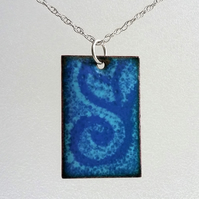 Enamelled 'swirl' copper rectangular pendant 056