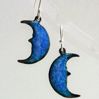 Enamelled copper 'blue moon' earrings 057