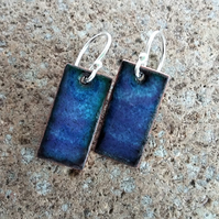 Enamelled rectangular copper 'ripples' earrings 066