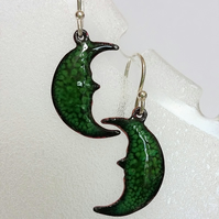 Enamelled copper crescent moon earrings 064
