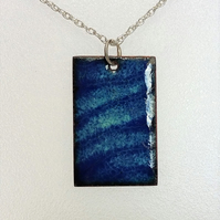 Enamelled copper rectangular 'ripples' pendant 065